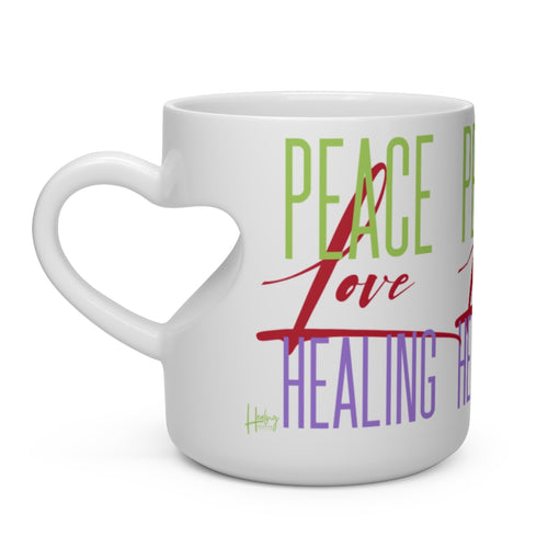 Peace Love Healing Heart Shaped Mug