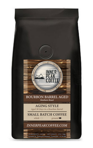 A bag of bourbon barrel aged coffee
