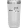 A white 20 oz vacuum sealed double wall stainless steel tumbler