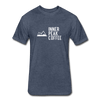 A men's heather navy fitted cotton/poly tee shirt featuring a 60% cotton/40% polyester blend.
