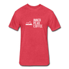 A men's  heather red fitted cotton/poly tee shirt featuring a 60% cotton/40% polyester blend.