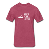 A men's heather burgundy fitted cotton/poly tee shirt featuring a 60% cotton/40% polyester blend.