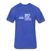 A men's heather royal fitted cotton/poly tee shirt featuring a 60% cotton/40% polyester blend.