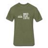 A men's heather military green fitted cotton/poly tee shirt featuring a 60% cotton/40% polyester blend.