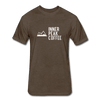 A Men's espresso fitted cotton/poly tee shirt featuring a 60% cotton/40% polyester blend.