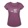 A super soft t-shirt made from cotton, polyester, and rayon featuring a slightly tapered loose fit in heather plum.