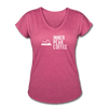 A super soft t-shirt made from cotton, polyester, and rayon featuring a slightly tapered loose fit in heather raspberry.