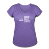 A super soft t-shirt made from cotton, polyester, and rayon featuring a slightly tapered loose fit in  purple heather.