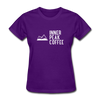 A women's t-shirt featuring 100% pre-shrunk cotton in purple.