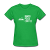 A women's t-shirt featuring 100% pre-shrunk cotton in bright green.