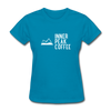 A women's t-shirt featuring 100% pre-shrunk cotton in turqoise.