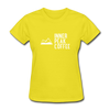 A women's t-shirt featuring 100% pre-shrunk cotton in yellow.