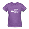A women's t-shirt featuring 100% pre-shrunk cotton in heather purple.