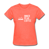 A women's t-shirt featuring 100% pre-shrunk cotton in heather coral.