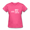 A women's t-shirt featuring 100% pre-shrunk cotton in heather pink.