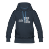 A women's premium hoodie that is warm and cozy, featuring a complementary colored drawstring, kangaroo-style inner pocket, reinforced cuffs and waist, and a fuzzy fleece interior in navy.