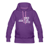 A women's premium hoodie that is warm and cozy, featuring a complementary colored drawstring, kangaroo-style inner pocket, reinforced cuffs and waist, and a fuzzy fleece interior in purple.