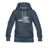 A women's premium hoodie that is warm and cozy, featuring a complementary colored drawstring, kangaroo-style inner pocket, reinforced cuffs and waist, and a fuzzy fleece interior in heather denim.