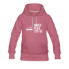 A women's premium hoodie that is warm and cozy, featuring a complementary colored drawstring, kangaroo-style inner pocket, reinforced cuffs and waist, and a fuzzy fleece interior in mauve.