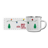 An enamel coated coffee mug for camping that has a christmas tree and christmas lights on it.