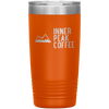 An orange 20 oz vacuum sealed double wall stainless steel tumbler