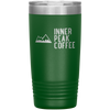 A green 20 oz vacuum sealed double wall stainless steel tumbler