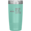 A teal 20 oz vacuum sealed double wall stainless steel tumbler