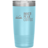 A light blue 20 oz vacuum sealed double wall stainless steel tumbler