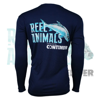Men's Navy Blue Long Sleeve Fishing Shirt