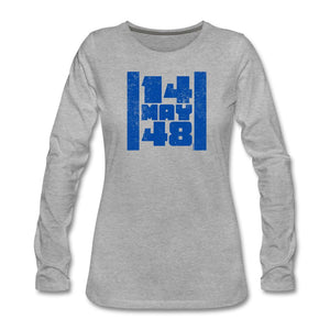 14 May 48 Israel Flag Women's Premium Long Sleeve T-Shirt - heather gray