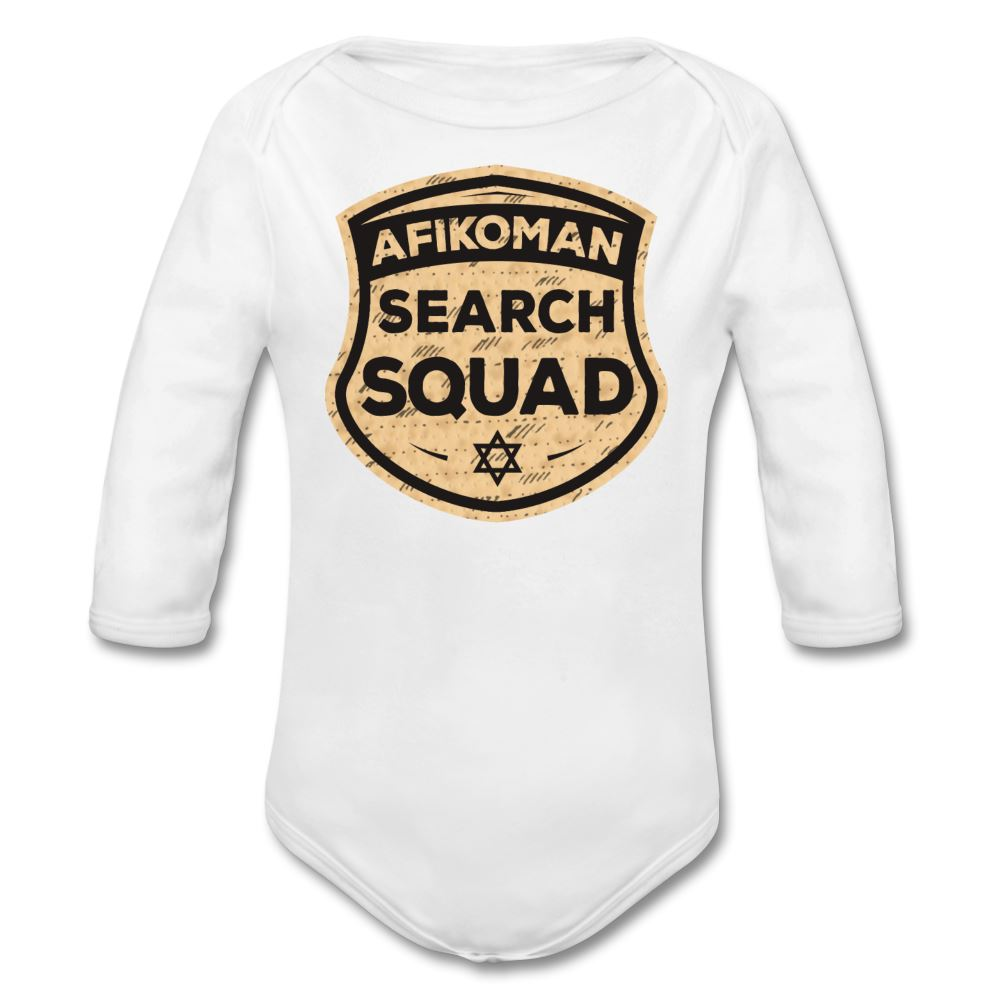 Afikomen Search Squad Organic Long Sleeve Baby Bodysuit - white