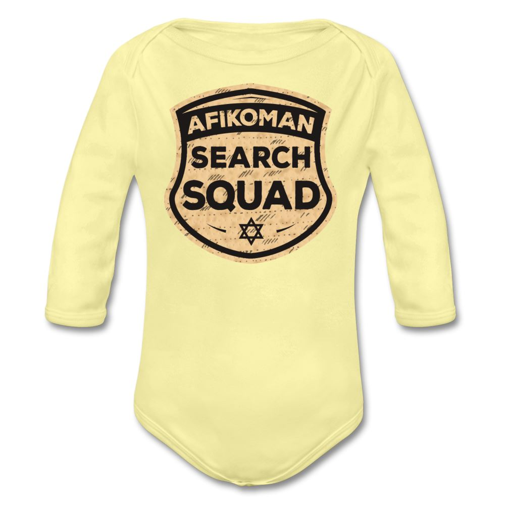 Afikomen Search Squad Organic Long Sleeve Baby Bodysuit - washed yellow