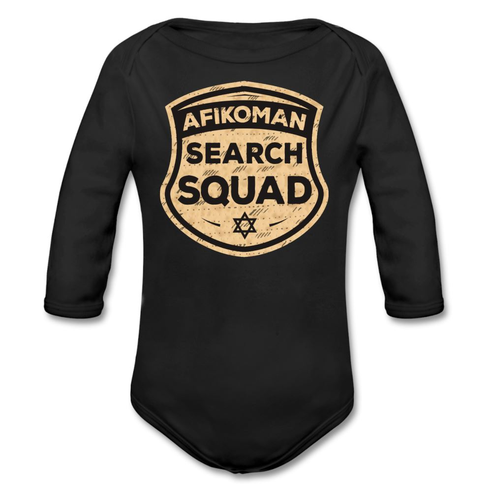 Afikomen Search Squad Organic Long Sleeve Baby Bodysuit - black