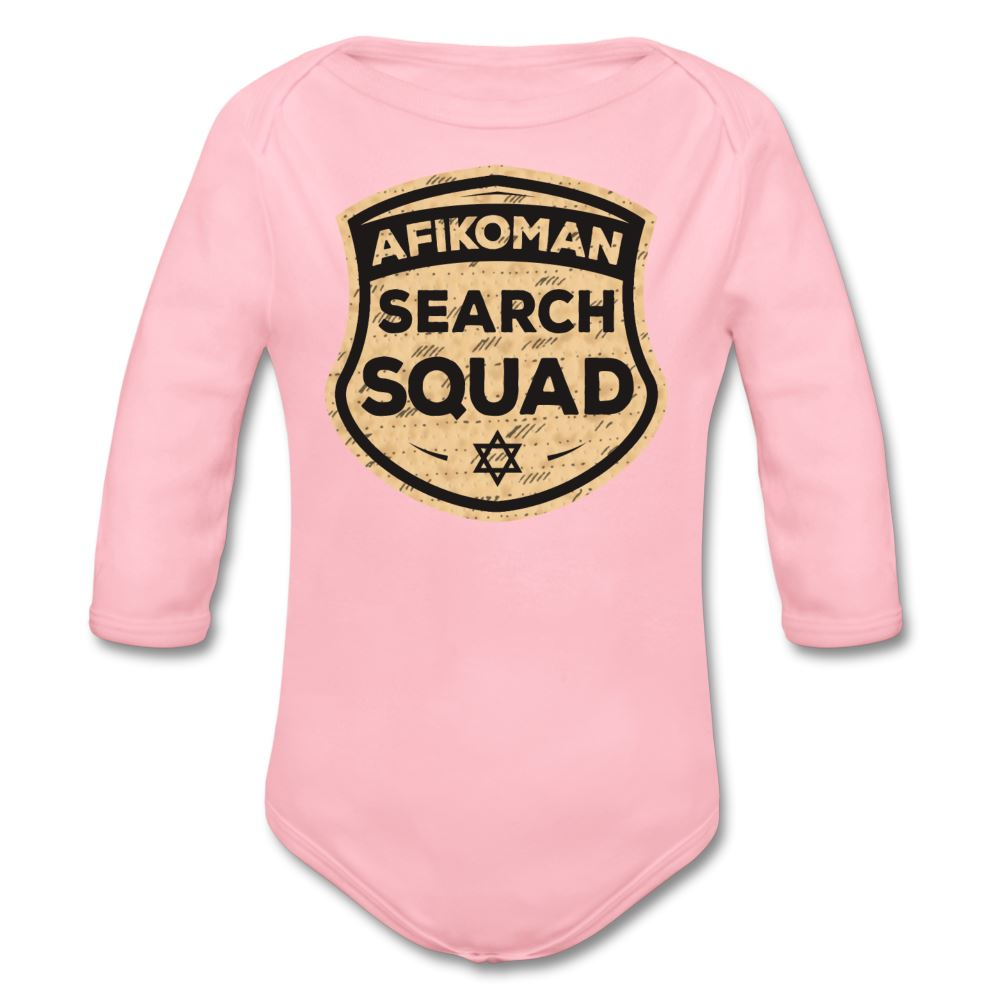 Afikomen Search Squad Organic Long Sleeve Baby Bodysuit - light pink