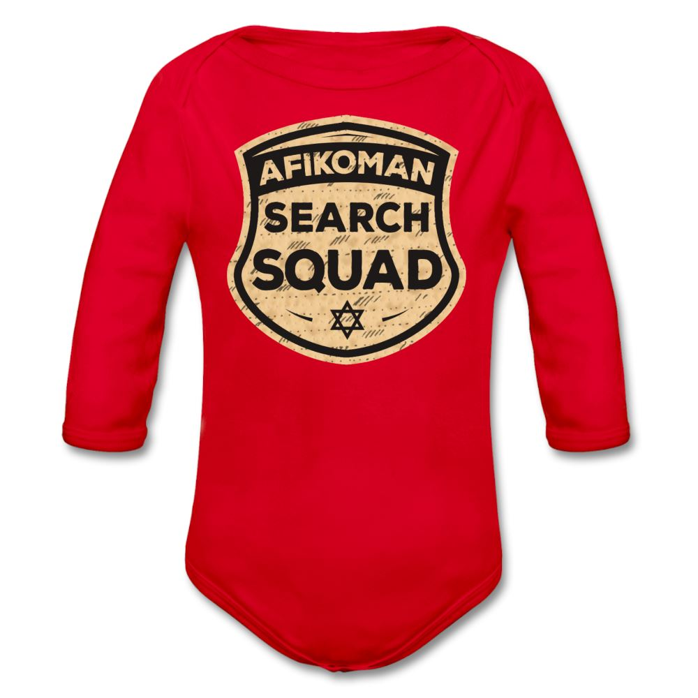 Afikomen Search Squad Organic Long Sleeve Baby Bodysuit - red