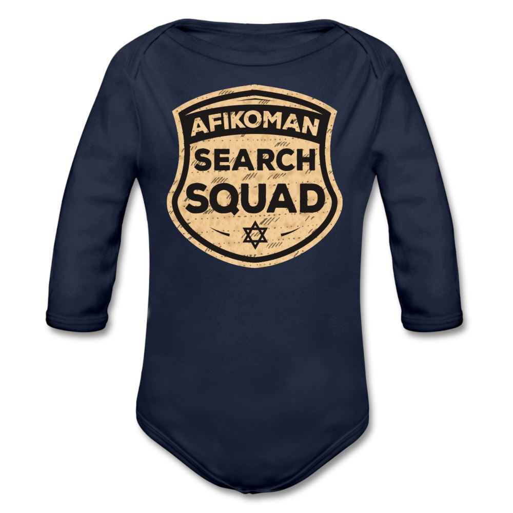 Afikomen Search Squad Organic Long Sleeve Baby Bodysuit - dark navy
