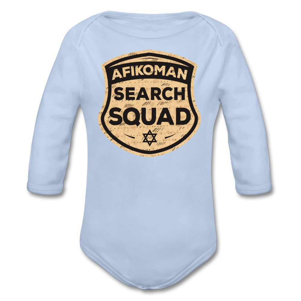 Afikomen Search Squad Organic Long Sleeve Baby Bodysuit - sky