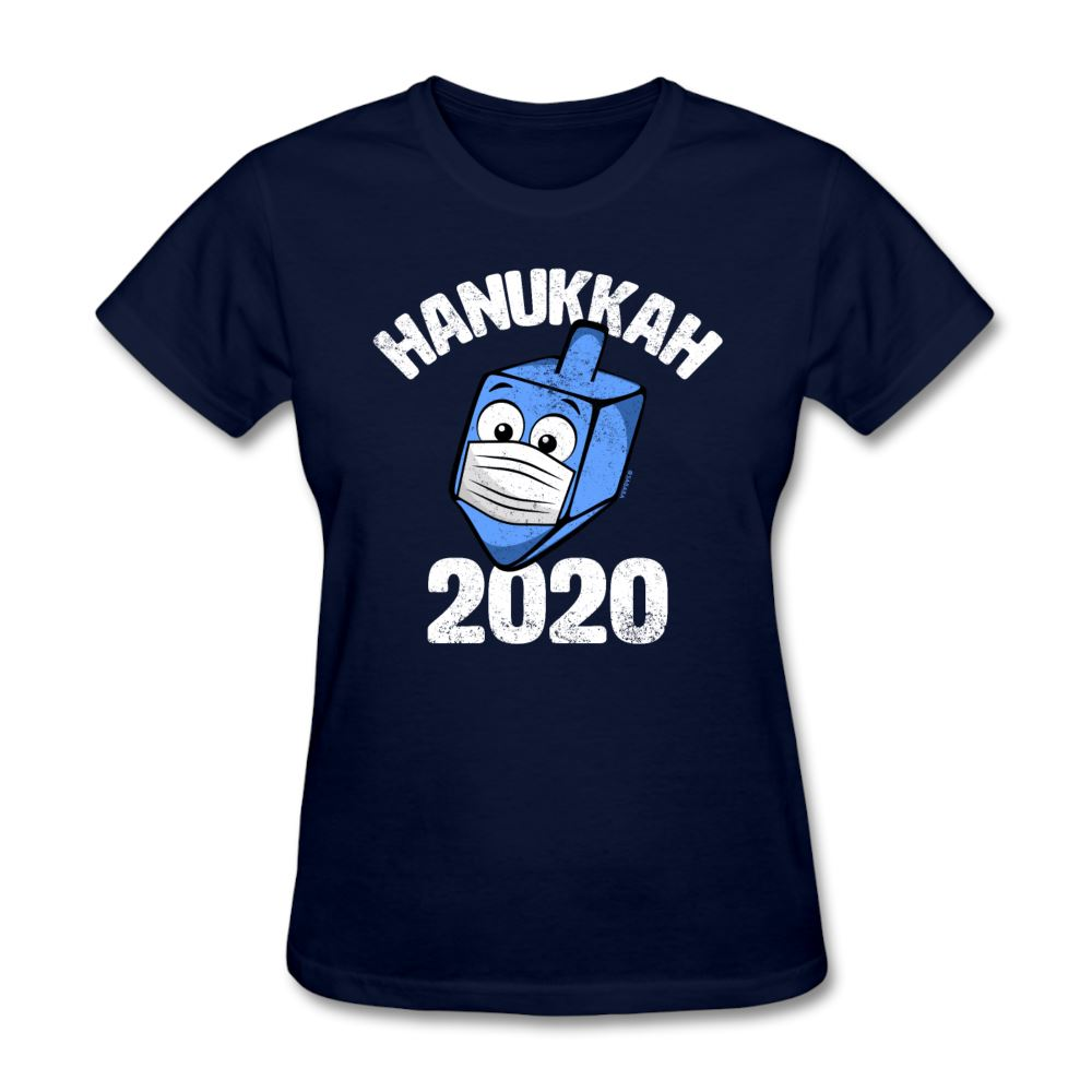 Funny Hanukkah 2020 Dreidel Wearing Face Mask Graphic Women's T-Shirt - navy