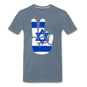 Israel Victory / Peace Fingers Men's Premium T-Shirt - steel blue