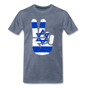 Israel Victory / Peace Fingers Men's Premium T-Shirt - heather blue