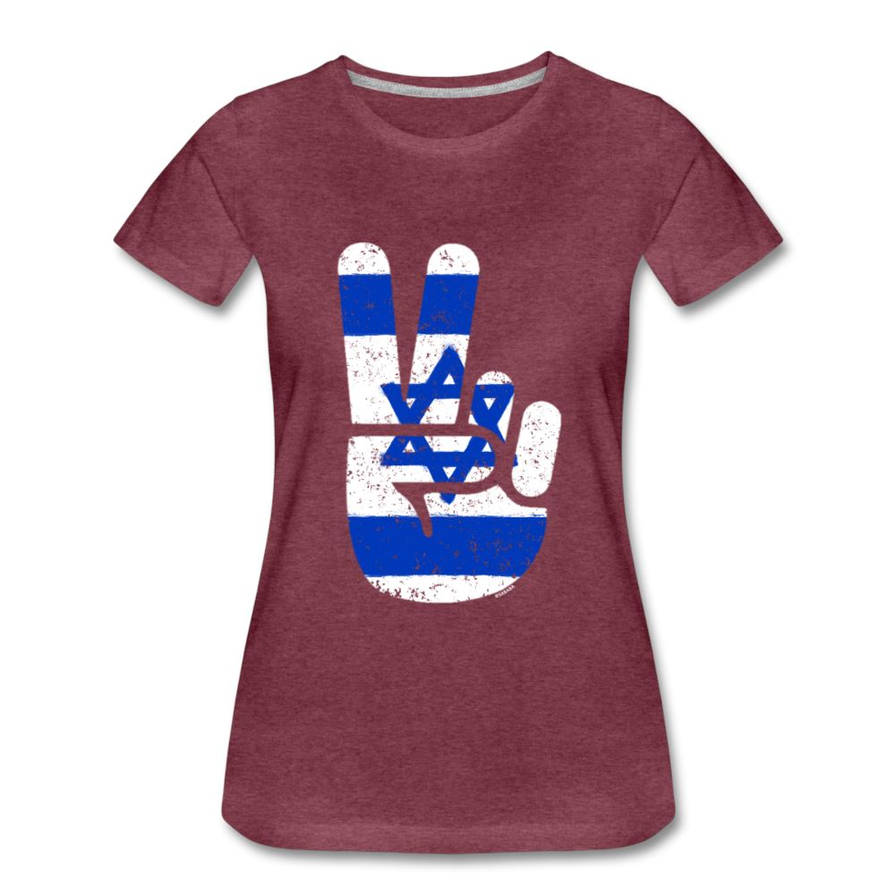 Israel Victory / Peace Fingers Women's Premium T-Shirt - heather burgundy