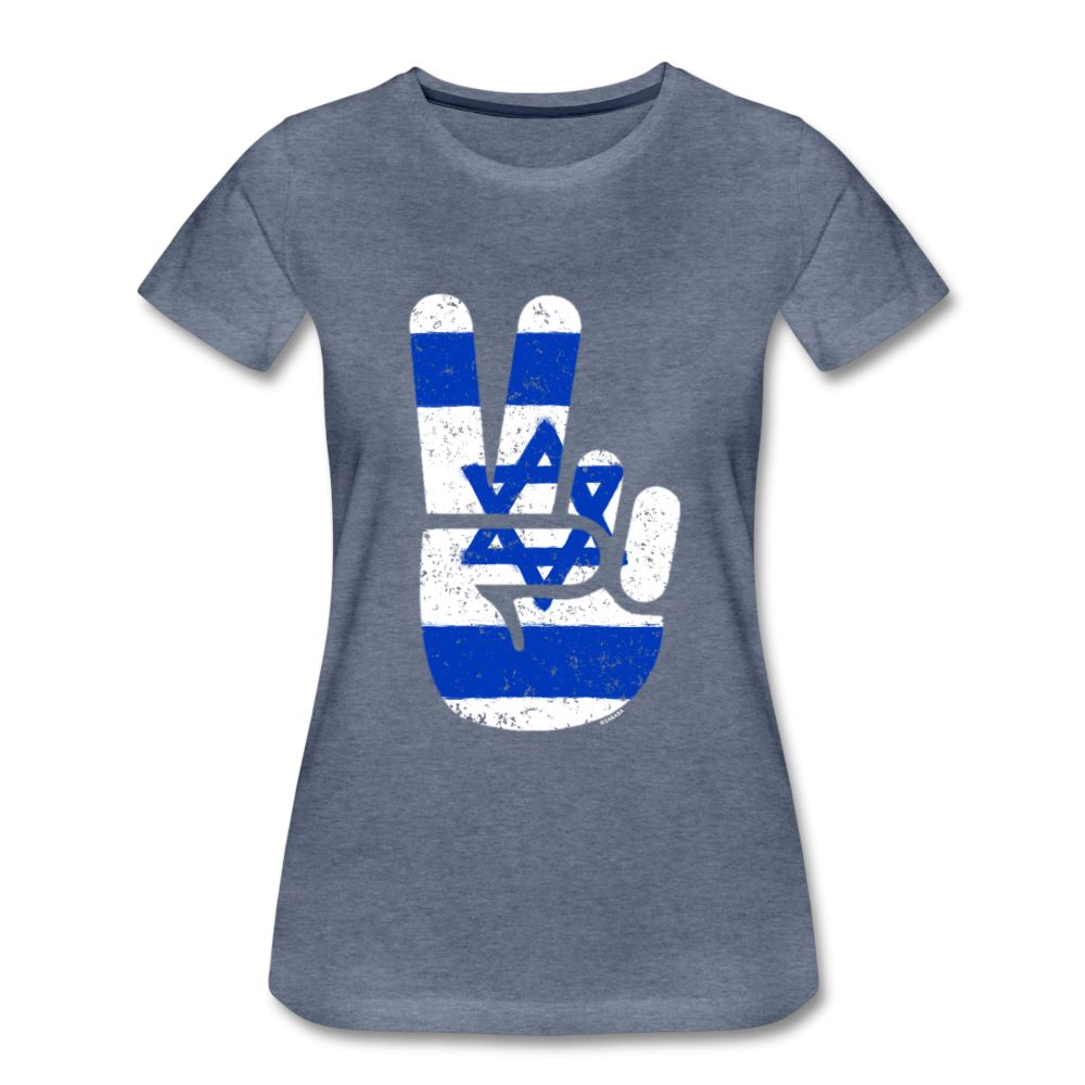Israel Victory / Peace Fingers Women's Premium T-Shirt - heather blue