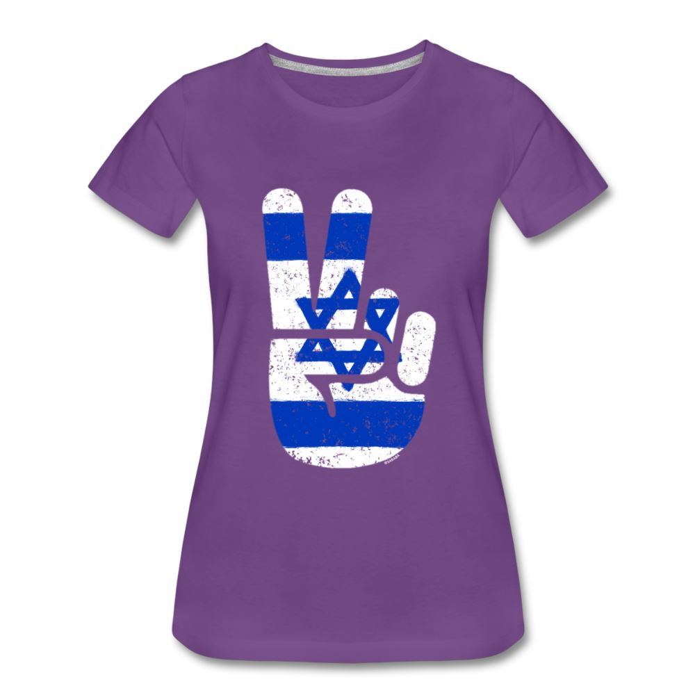 Israel Victory / Peace Fingers Women's Premium T-Shirt - purple