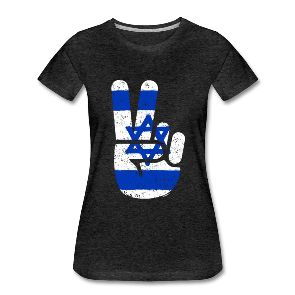 Israel Victory / Peace Fingers Women's Premium T-Shirt - charcoal gray