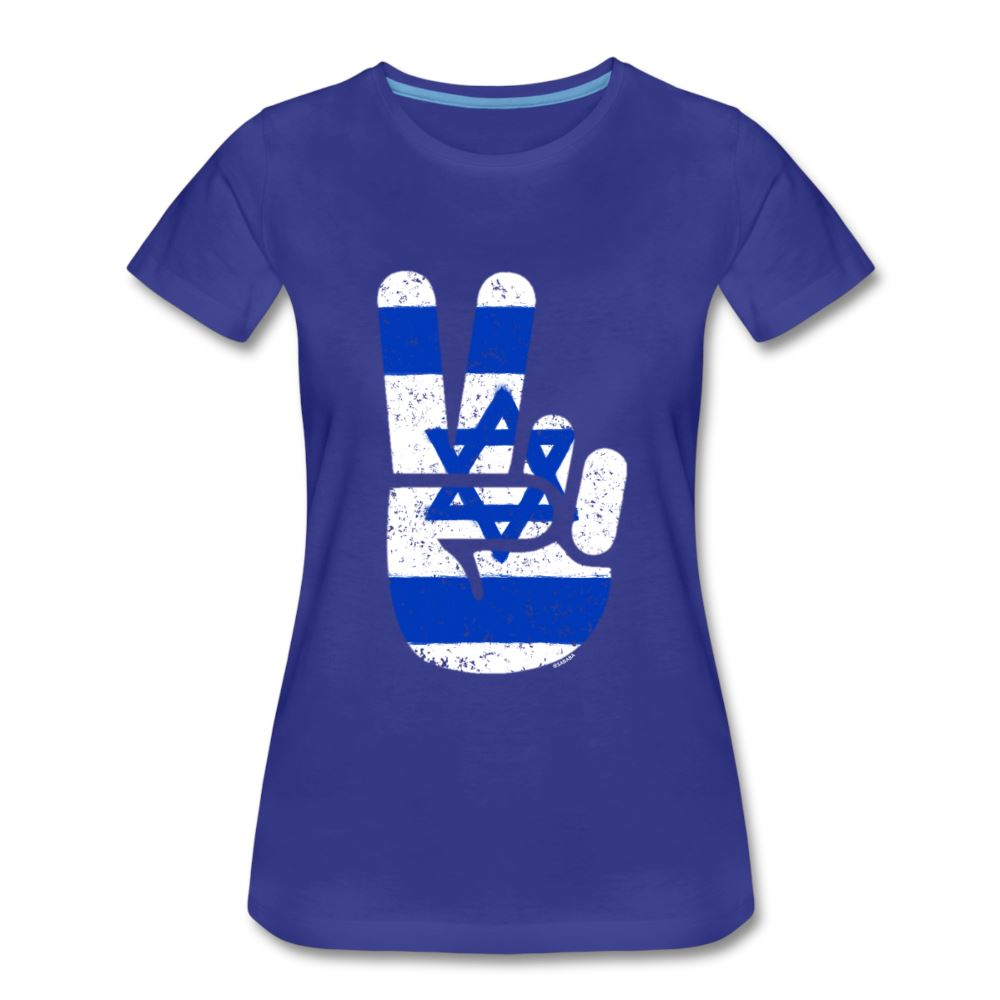 Israel Victory / Peace Fingers Women's Premium T-Shirt - royal blue