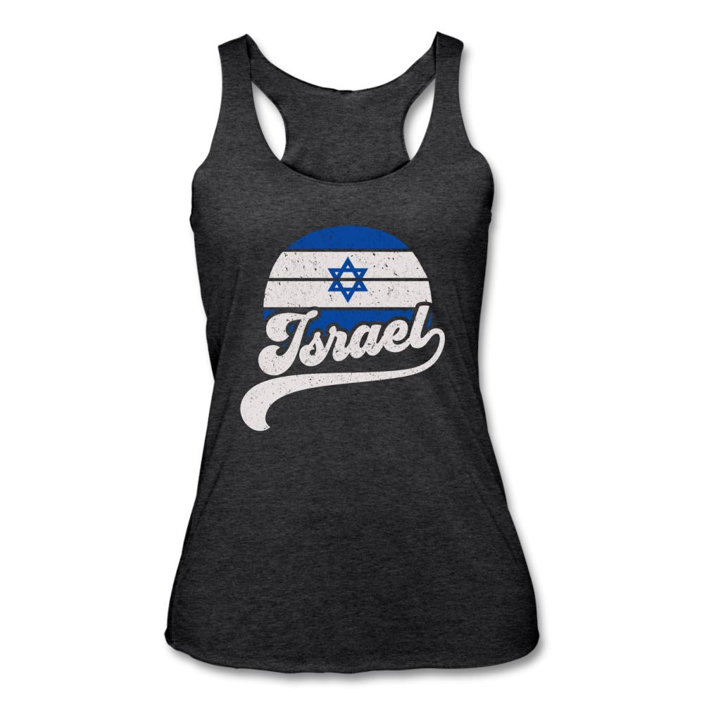 Israeli Flag Retro Women's Tank - heather black