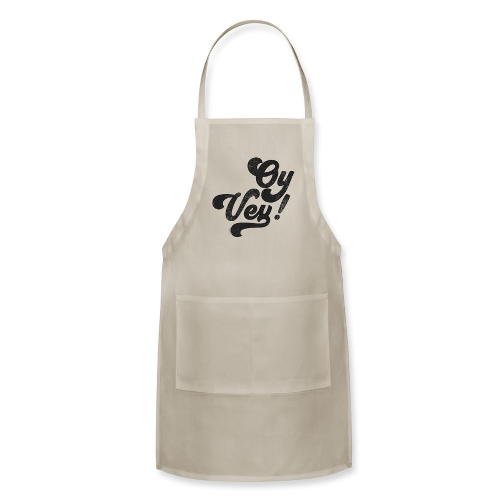 Oy Vey! Funny Yiddish Adjustable Apron - natural