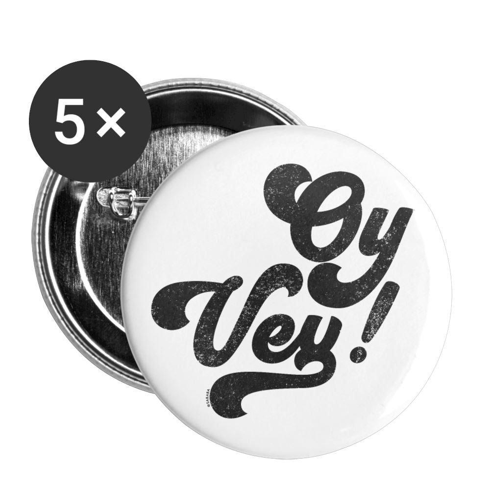 Oy Vey Small Buttons (5 pack) - white
