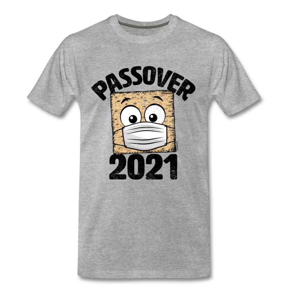 Passover 2021 Matzah Cracker with Mask Men's Premium T-Shirt - heather gray