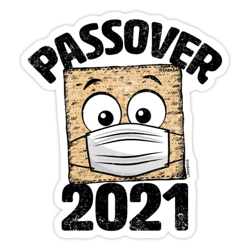 Passover 2021 Matzah Cracker with Mask Sticker - white matte